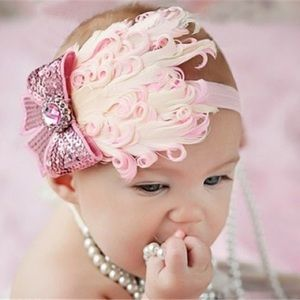Other - Brand New Baby Toddler Girl Pink Feather Headband